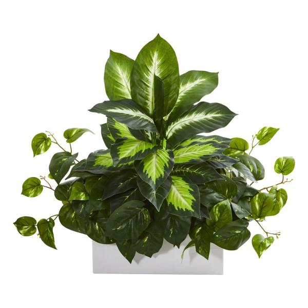 Nearly Natural Indoor Golden Dieffenbachia and Pothos Artificial Plant 8262