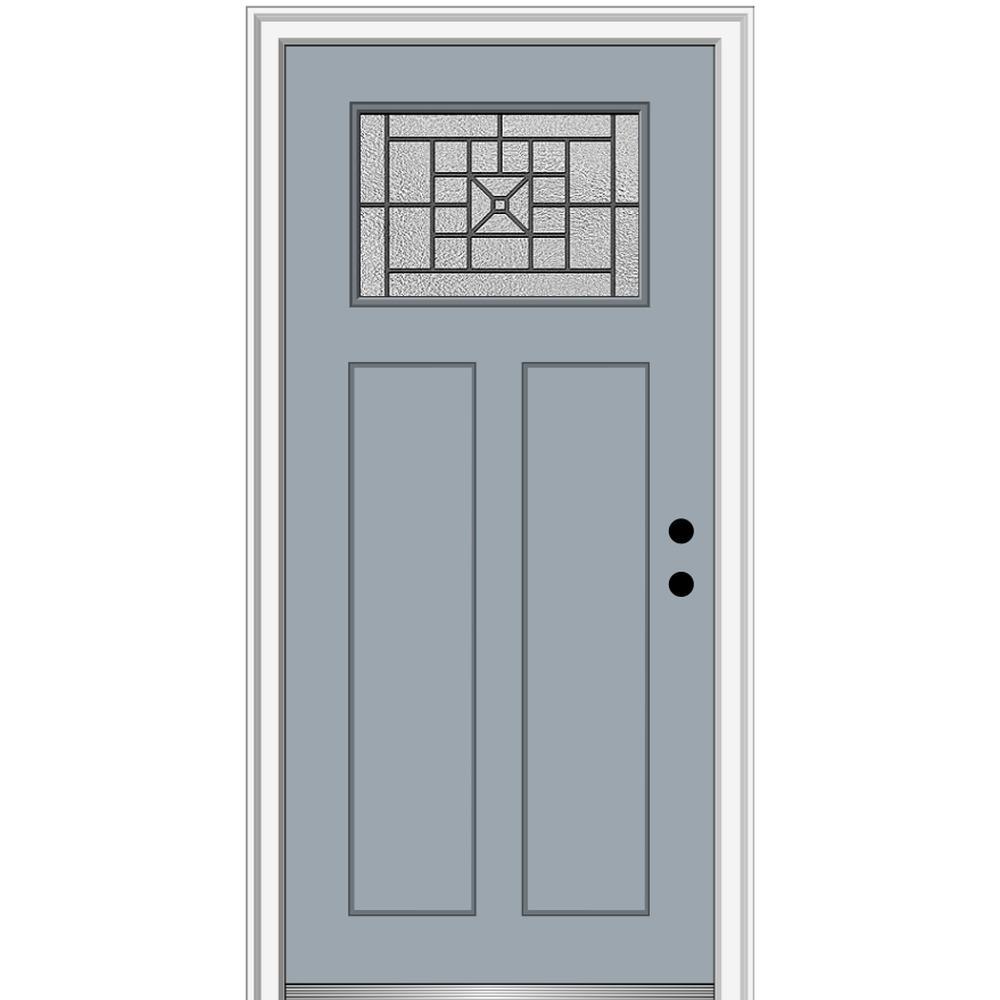 MMI Door 32 in. x 80 in. Courtyard Left-Hand 1-Lite Decorative Craftsman Painted Fiberglass Prehung Front Door, 4-9/16 in. Frame, Storm Cloud/ was $1444.56 now $939.0 (35.0% off)