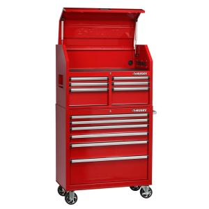 husky 36 in 12 drawer tool chest and cabinet combo in red h36ch6tr6ler the home depot. Black Bedroom Furniture Sets. Home Design Ideas