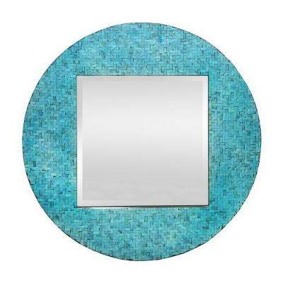 33.5 in. Wood Tile Mirrorin Turquoise