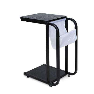 B and W Black U Shape Side Table