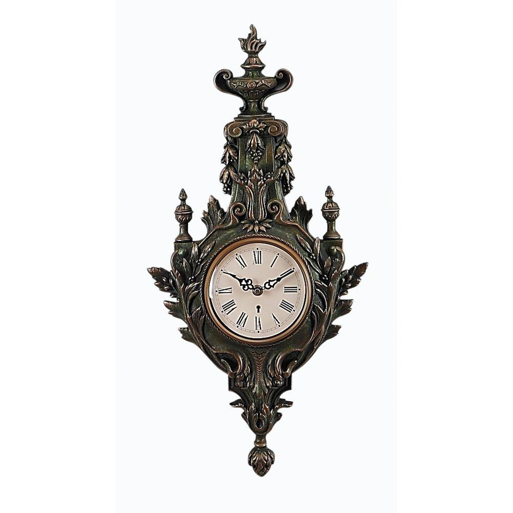 Antique Reproductions 25 in. x 13 in. Teardrop Shape Antique Green Wall Clock