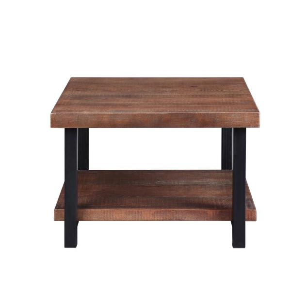 Boyelliving Brown Soild Wood Square Coffee Table With Storage
