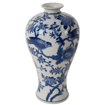 Ren 7 in. x 13 in. Blue and White Decorative Vase