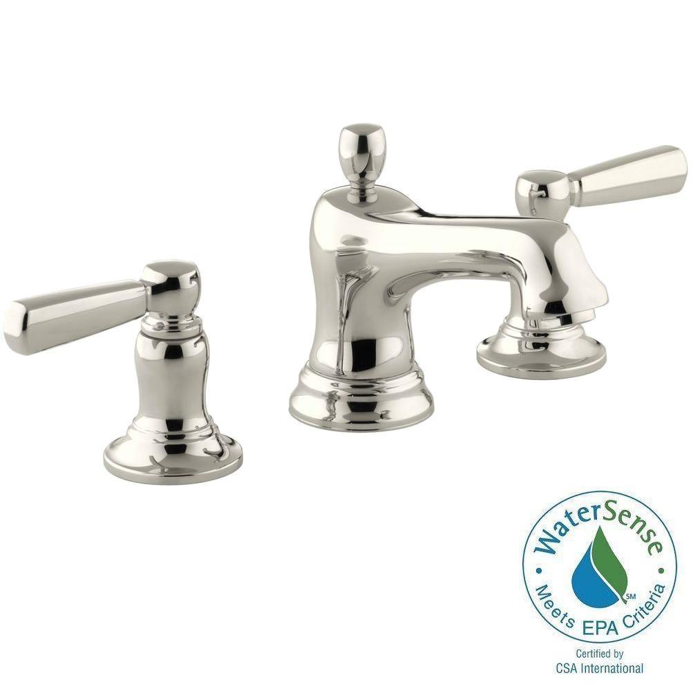 Bancroft 8 in. Widespread 2-Handle Low-Arc Bathroom Faucet in Vibrant Polished Nickel