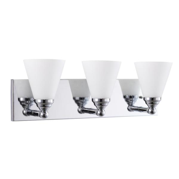 22 in. 3-light Brushed Chrome Bathroom Powder Room Wall Vanity Light Fixture with Cone Shape Frosted Glass Shade