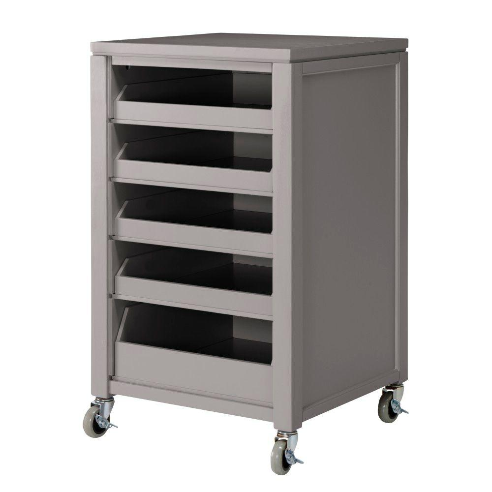 Martha Stewart Living 36 in. H Cement Grey Space Cart with 5-Pull Out Trays