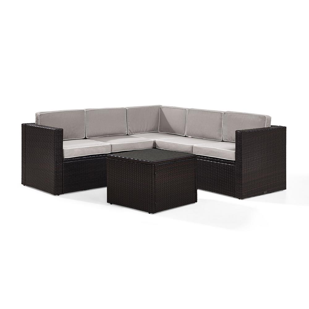 Crosley Palm Harbor 6-Piece Wicker Outdoor Sectional Set With Grey Cushions