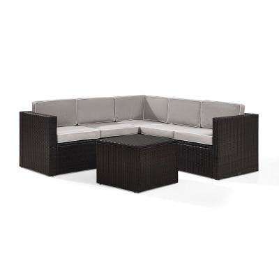Palm Harbor 6-Piece Wicker Outdoor Sectional Set With Grey Cushions