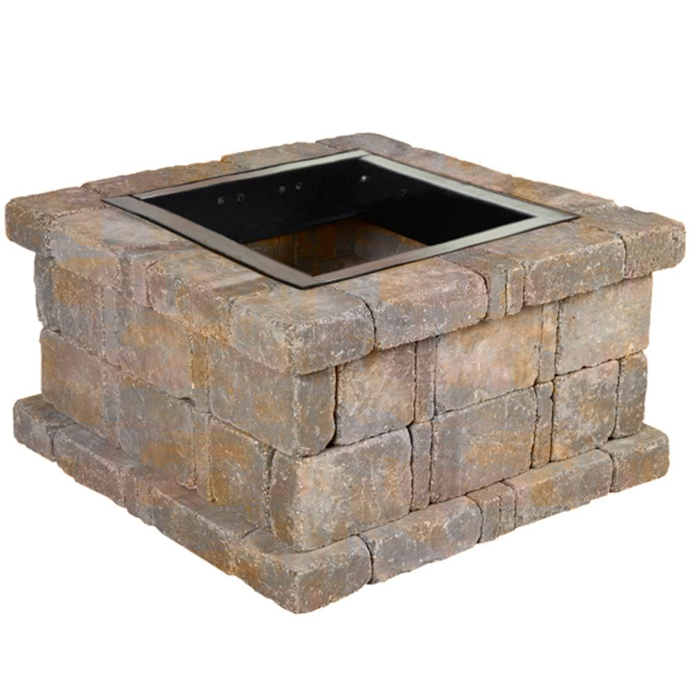 Pavestone RumbleStone 38.5 in. x 21 in. Square Concrete Fire Pit Kit No. 3 in Sierra Blend