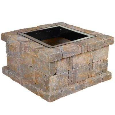 RumbleStone 38.5 in. x 21 in. Square Concrete Fire Pit Kit No. 3 in Sierra Blend