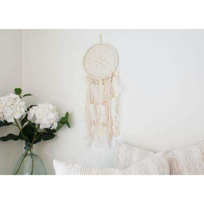 Off White Medium Handmade Boho Feather Dreamcatcher