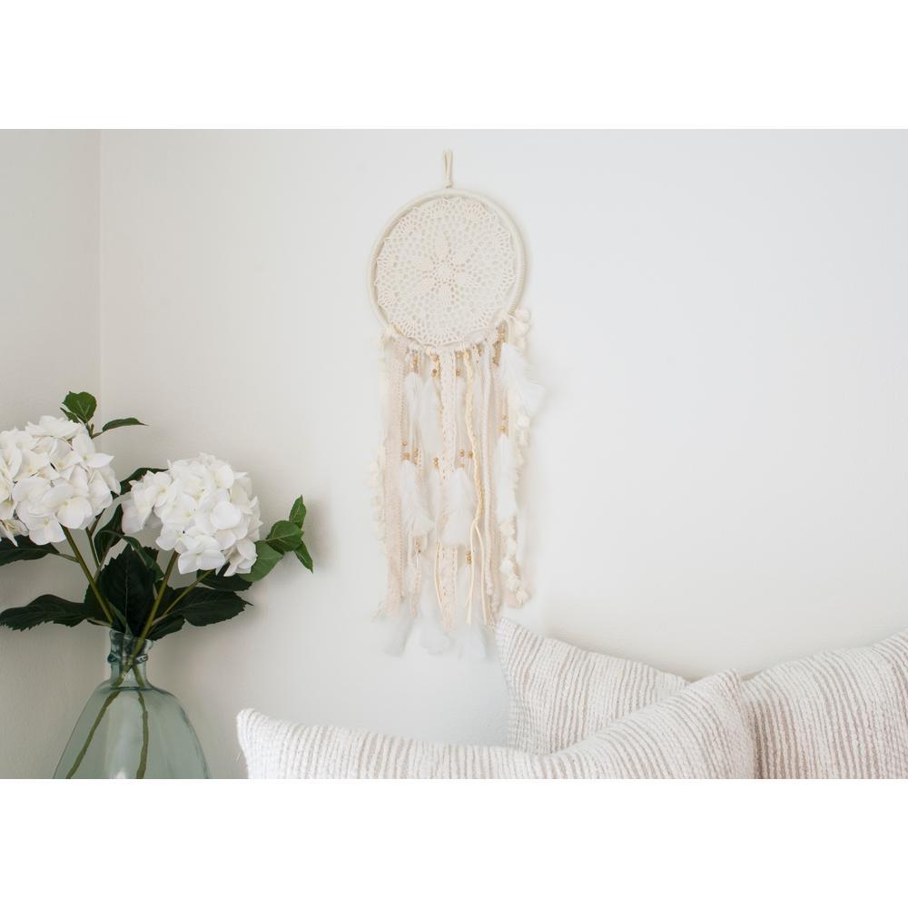Off White Medium Handmade Boho Feather Dreamcatcher