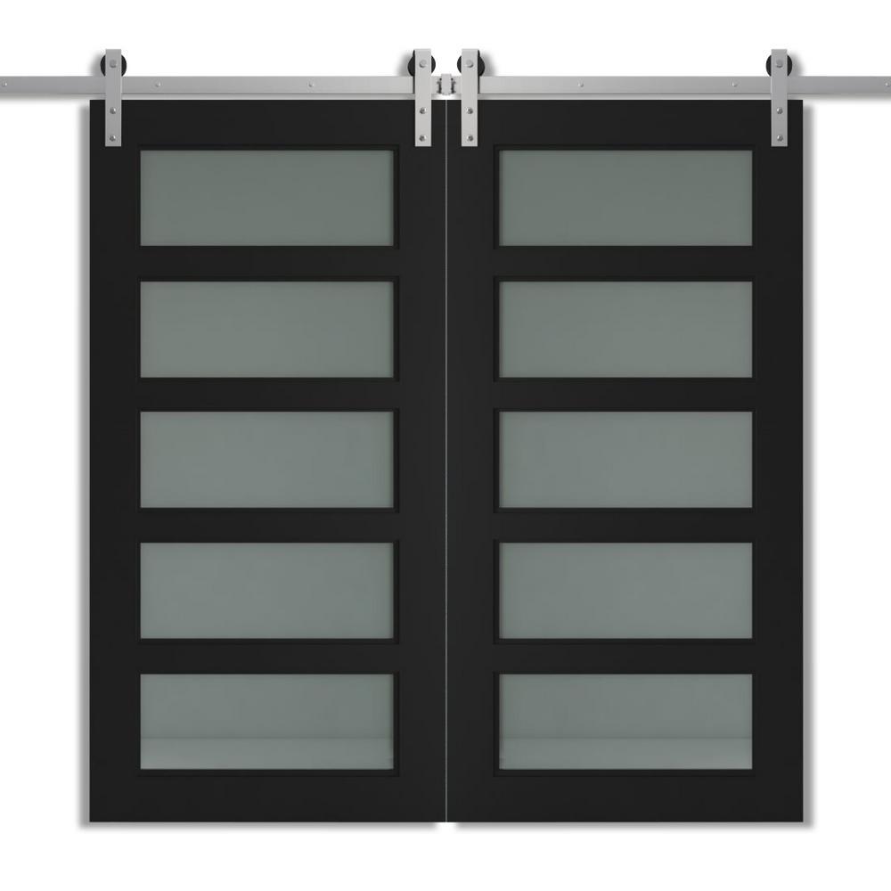 40 in. x 83 in. CHARLESTON Espresso Modern Double Barn Door with Sliding Barn Door Hardware Kit