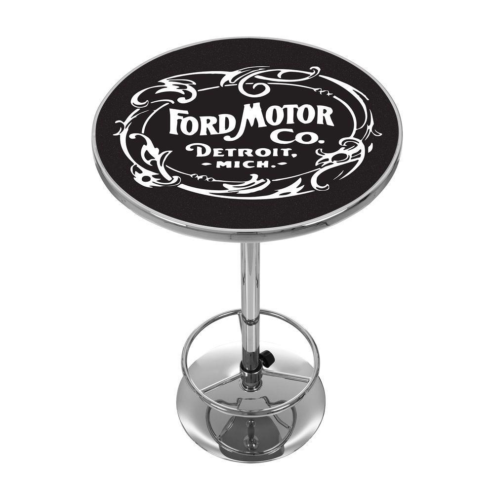 Vintage 1903 Motor Company Chrome Pub/Bar Table