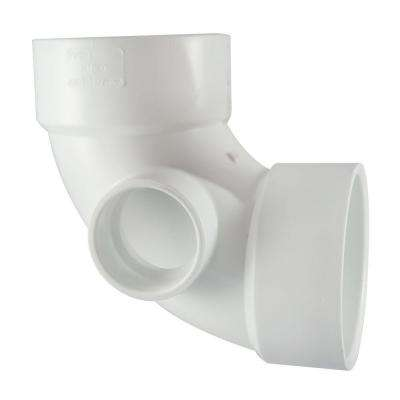 3 in. x 3 in. x 1-1/2 in. PVC DWV 90 Degree Hub x Hub x Hub Elbow with Side Inlet