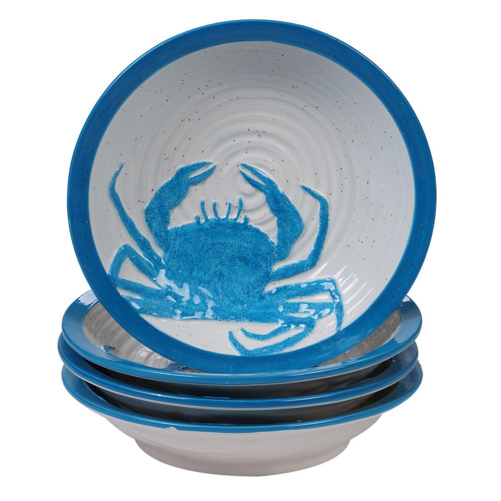 Natural Coast 4-Piece Country/Cottage Multi-Colored Ceramic 28 oz. Soup/Pasta Bowl Set (Service for 4)