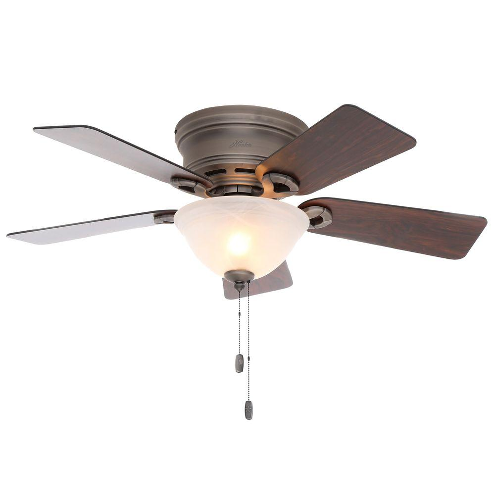 Indoor Antique Pewter Low Profile Ceiling Fan With Light Kit