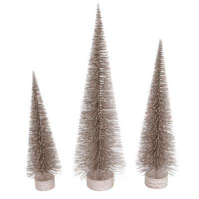 S/3 36 in. H Champagne Holiday Bottle Brush Trees