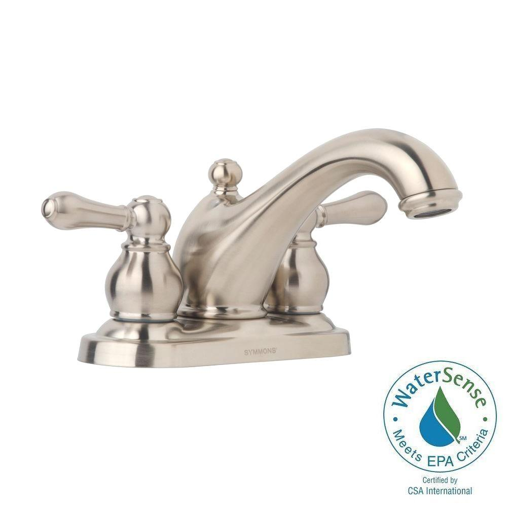 Symmons Allura 4 in. Centerset 2-Handle Mid-Arc Bathroom Faucet in ...