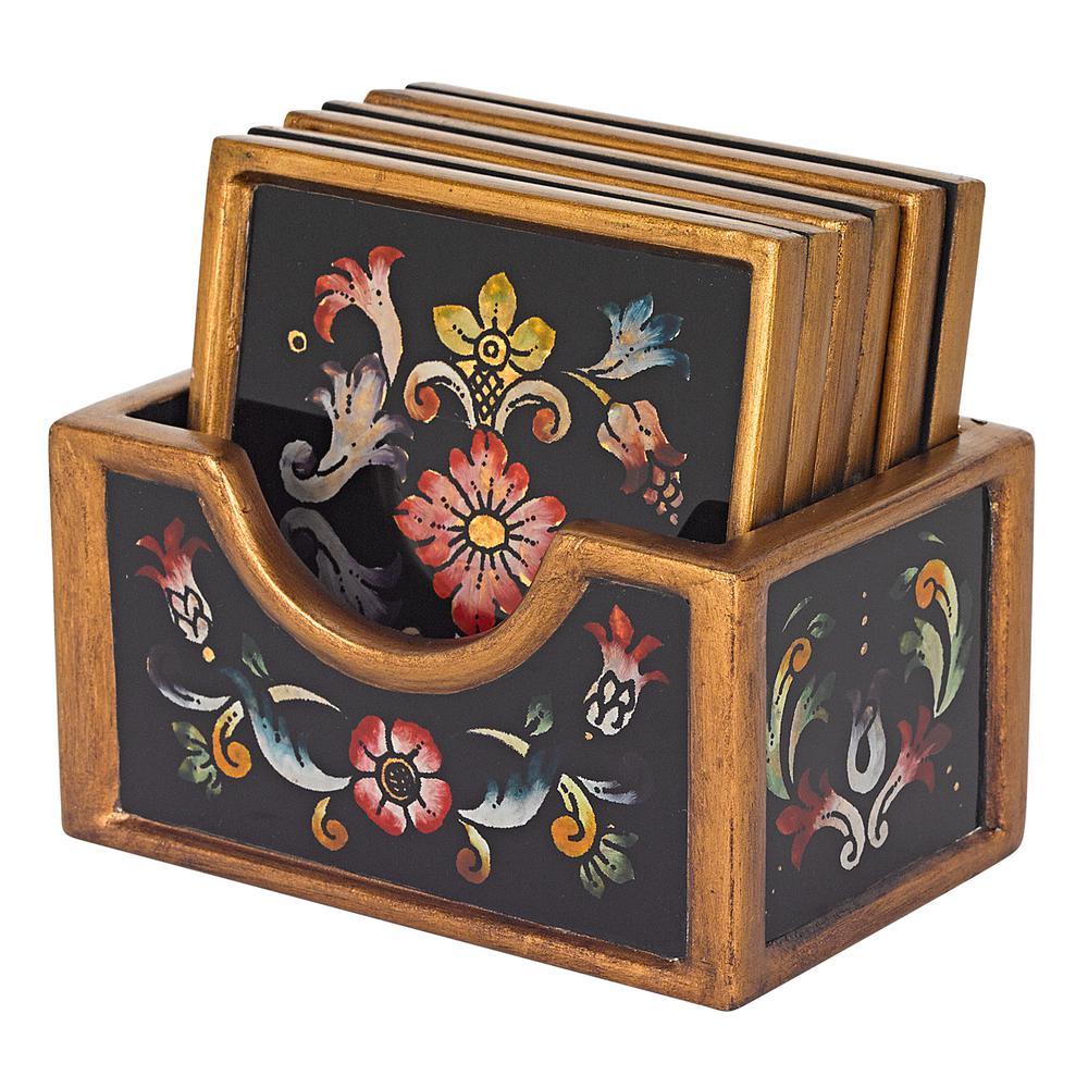 7-Piece Gemstone Black Coaster Set