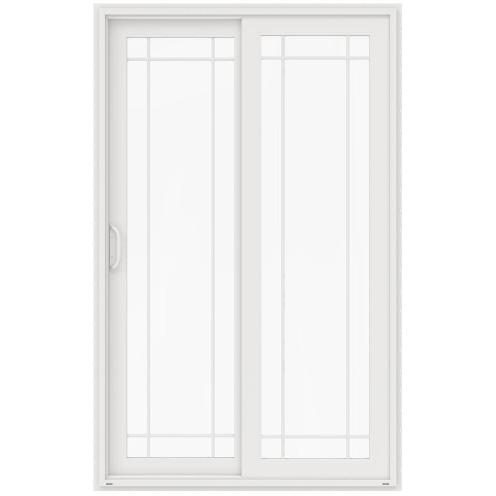72 in. x 96 in. V-4500 White Vinyl Right-Hand 9 Lite Sliding Patio Door