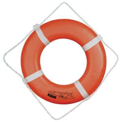 24 in. Closed Cell Foam Life Ring with Webbing Straps in Orange
