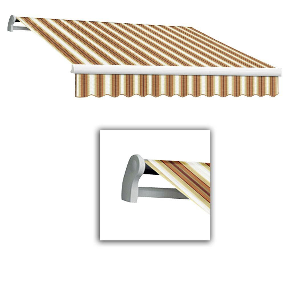 AWNTECH 12 ft. Maui-LX Left Motor Retractable Acrylic Awning with Remote (120 in. Projection) in Tan/Terra/White