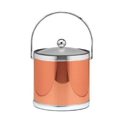 Mylar 3 Qt. Polished Copper and Chrome Ice Bucket with Bale Handle and Acrylic Cover