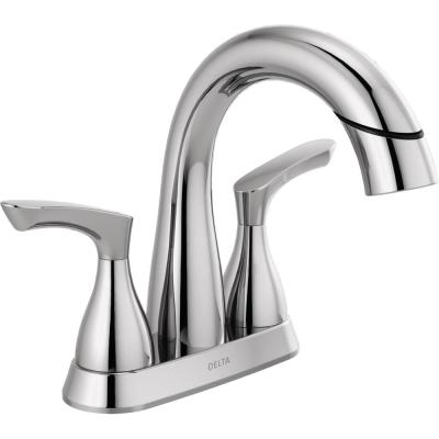 Broadmoor 4 in. Centerset 2-Handle Pull-Down Spout Bathroom Faucet in Chrome