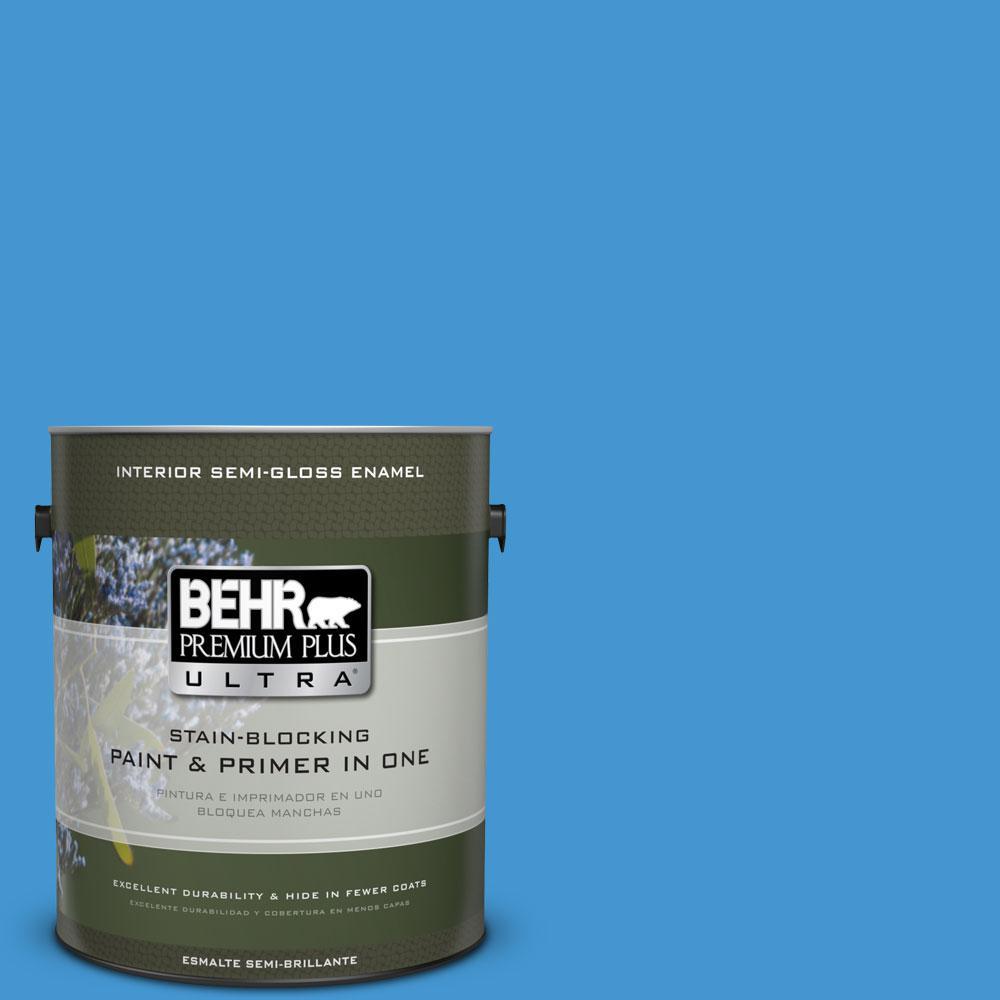 BEHR Premium Plus Ultra 1-gal. #P510-5 Perfect Sky Semi-Gloss Enamel Interior Paint