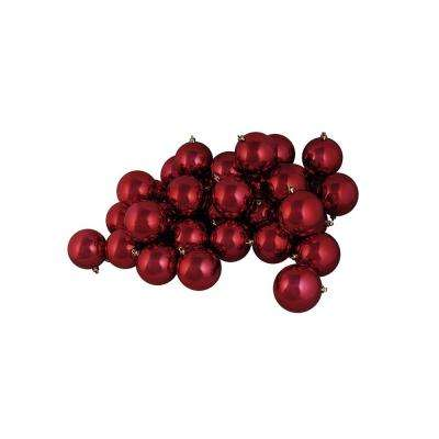 4 in. (100 mm) Shatterproof Shiny Burgundy Red Christmas Ball Ornaments (12-Count)