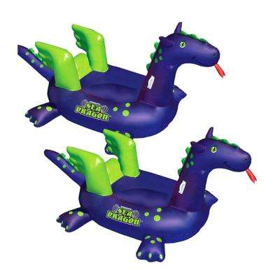 Swimming Pool Kids Giant Rideable Sea Dragon Inflatable Float (2-Pack)