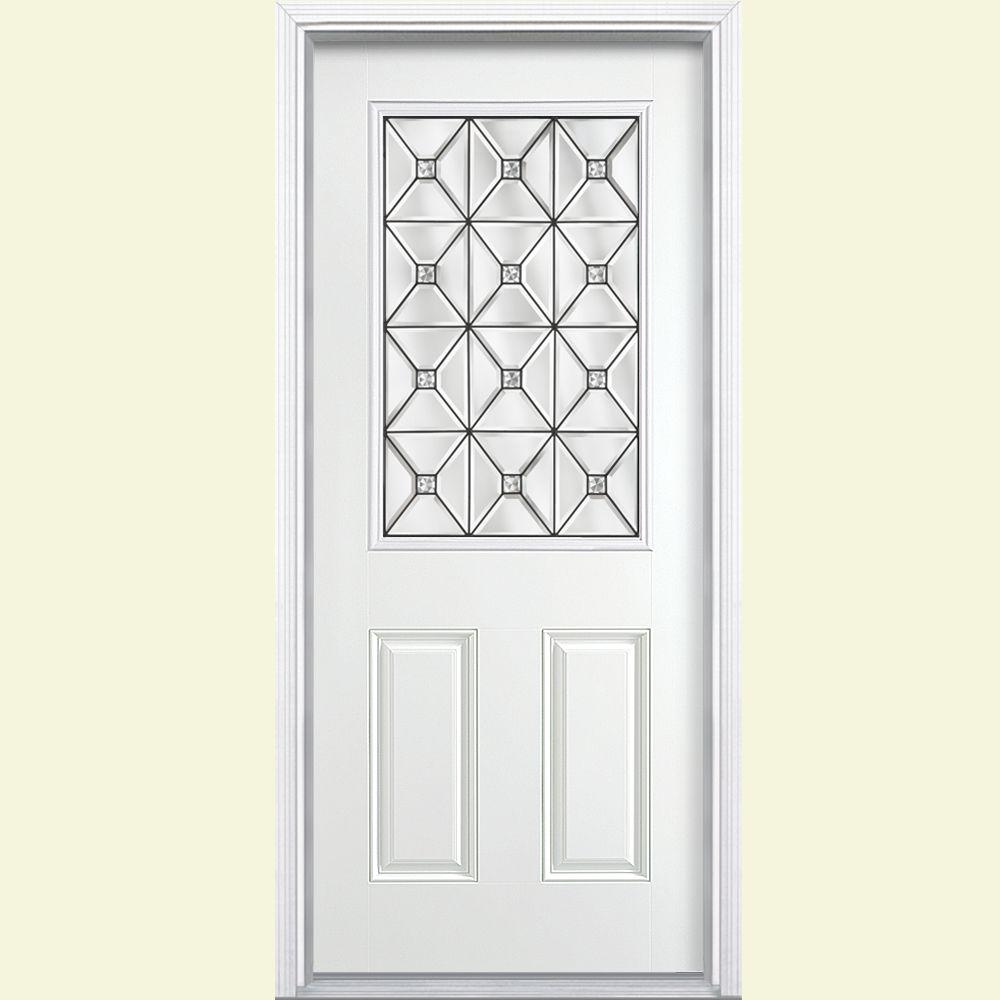 Masonite St Pauls Half Lite Primed Smooth Fiberglass Prehung Front Door with Brickmold-DISCONTINUED