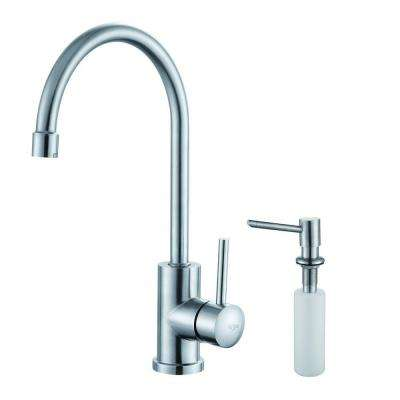 Single-Handle Stainless Steel Kitchen Bar Faucet with Soap Dispenser in Stainless Steel