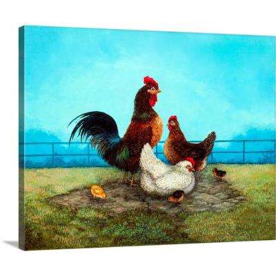 """Rooster Gathering"" by Linda Nelson Stocks Canvas Wall Art"