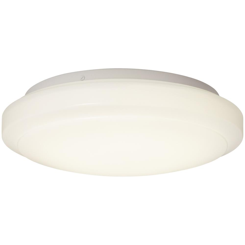 Round White 75 Watt Equivalent Integrated Led Flush Mount 1000 Lumens Dimmable