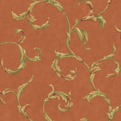 The Wallpaper Company 56 sq.ft. Orange Leaf Scroll Wallpaper-DISCONTINUED