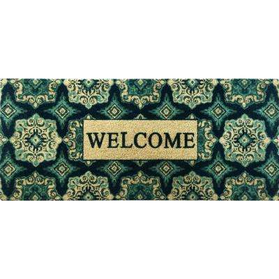 Fiesta Teal 20 in. x 46 in. Coir Outdoor Mat