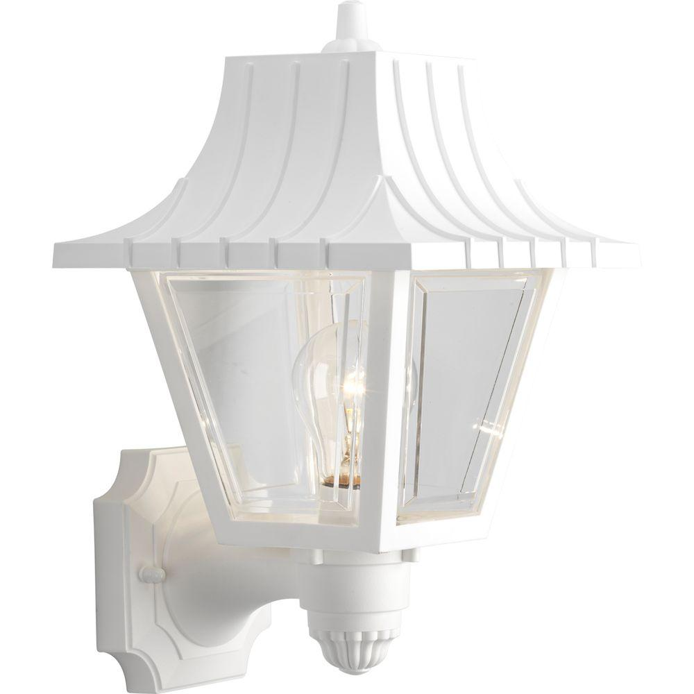Mansard Collection Wall Mount 1-Light Outdoor White Wall Lantern