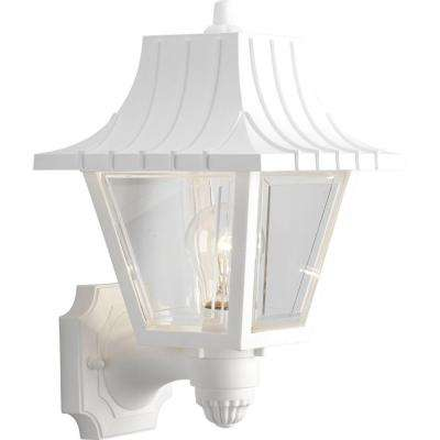 Mansard Collection Wall Mount 1-Light 12.75 in. Outdoor White Wall Lantern Sconce