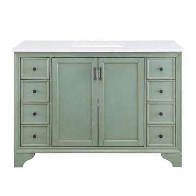 Hazelton 49 in. W x 22 in. D Vanity in Antique Green with Engineered Stone Vanity Top in Crystal White with White Sink