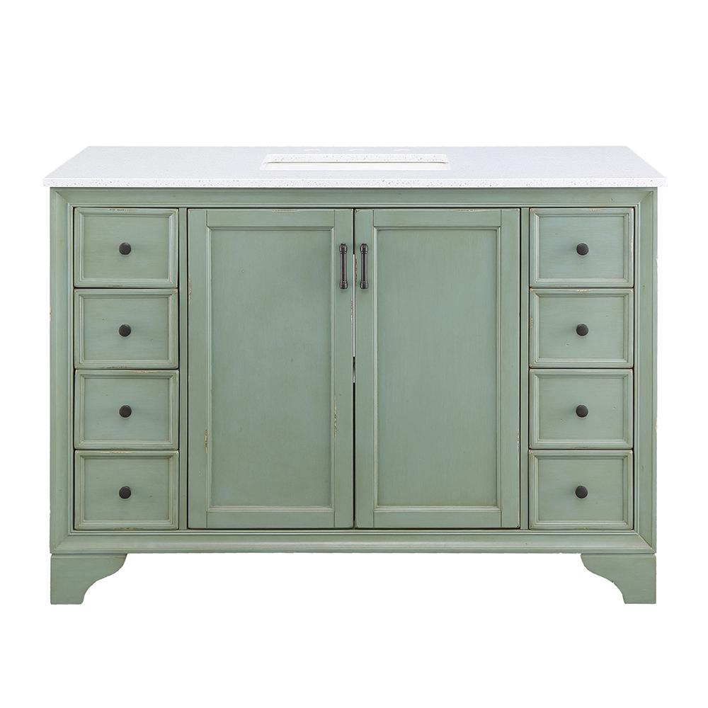 Home Decorators Collection Hazelton 49 in. W x 22 in. D Vanity in Antique Green with Engineered Stone Vanity Top in Crystal White with White Sink