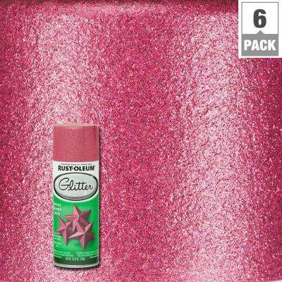 10.25 oz. Bright Pink Glitter Spray Paint (6-Pack)