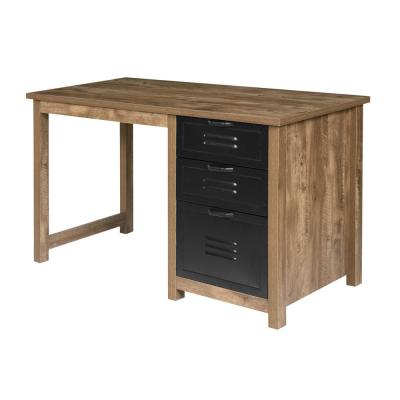 48 in. Rectangular Brown/Black 3 Drawer Writing Desk with File Storage