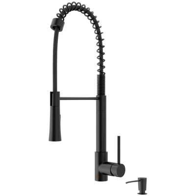 Laurelton Single-Handle Pull-Down Sprayer Kitchen Faucet with Soap Dispenser in Matte Black