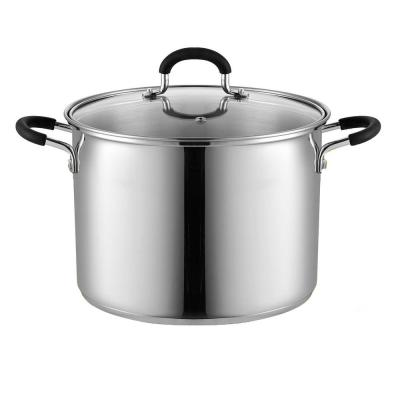 8 qt. Stainless Steel Stock Pot in Black and Stainless Steel with Glass Lid