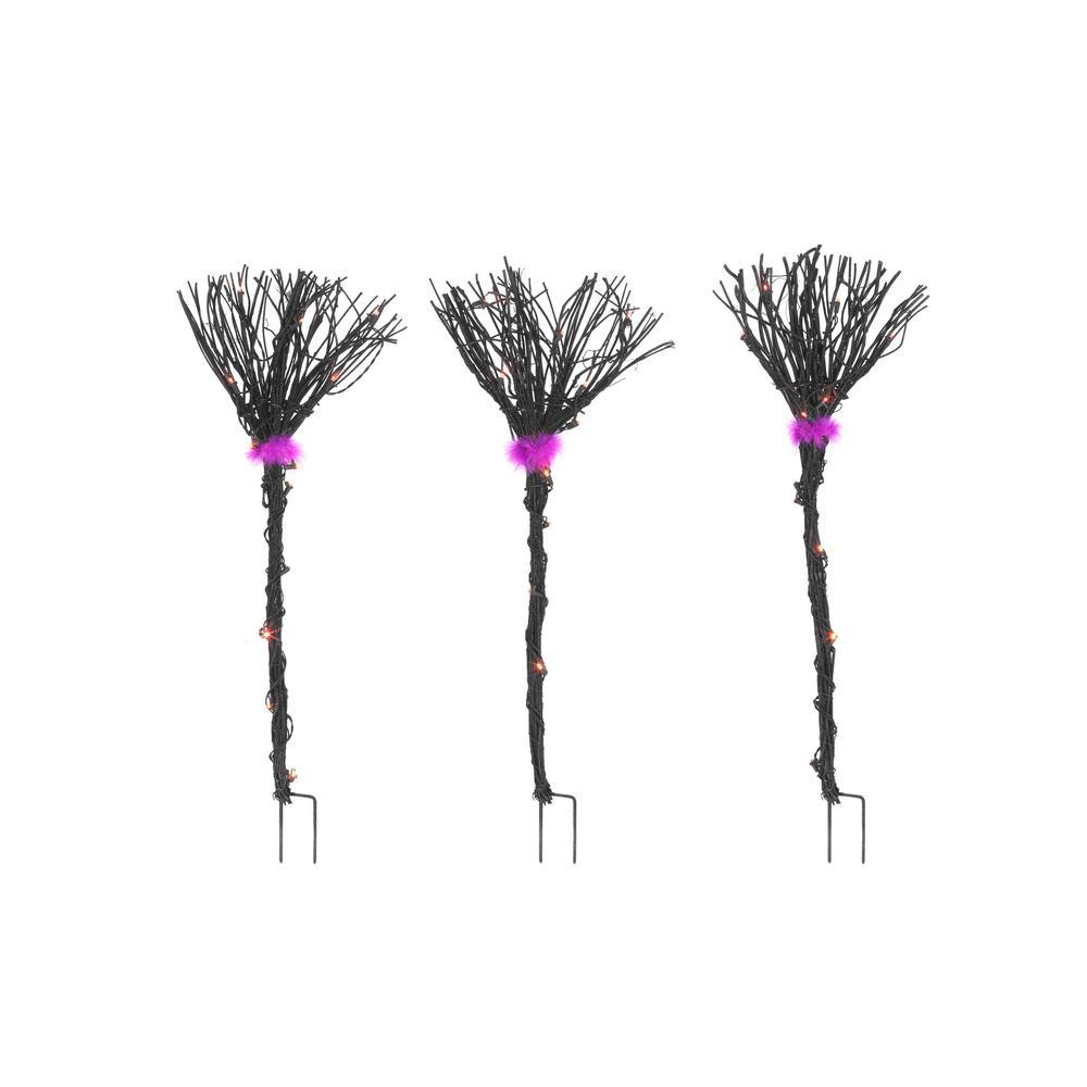 40 in. Black Grapevine Broom Halloween Path Lights (Set of 3)