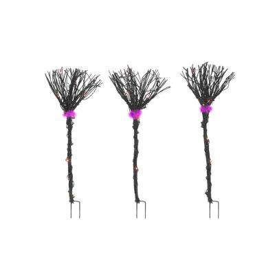 40 in. Black Grapevine Broom Halloween Path Lights (Set of 3)