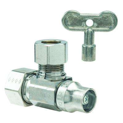 1/2 in. Nom Compression Inlet x 1/2 in. O.D. Compression Outlet Brass 1/4-Turn Angle Ball Valve with Loose Key (5-Pack)
